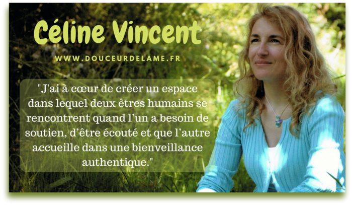 Céline Vincent Douceur de l'âme décryptage psychosomatique, relation d'aide